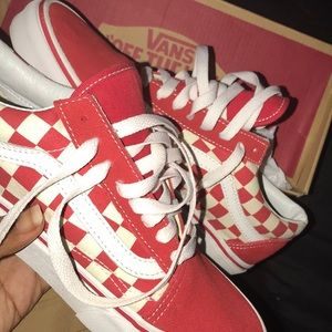 red checkerboard vans